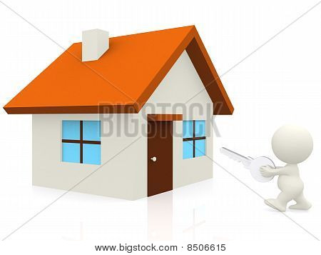 3D Man With House Keys