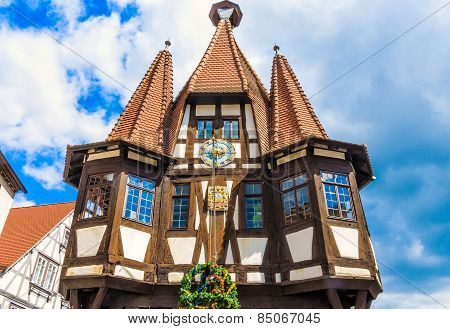 Historic City Hall in the Michelstadt, Odenwald, built the 1484th