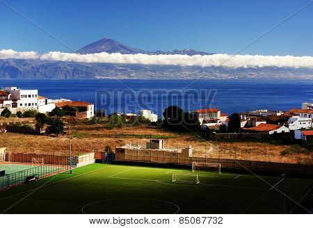 Agulo and El Teide Volcano, La Gomera, Spain, Europe