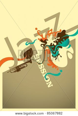 Jazz session poster design with abstraction. Vector illustration