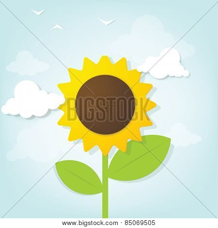 Flat paper sunflower in the sky