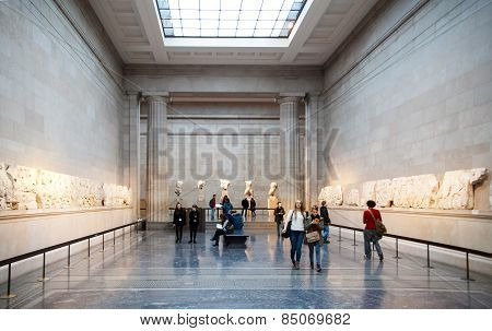 LONDON, UK - NOVEMBER 30, 2014: British museum exhibition hall. Ancient Greek collection