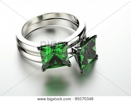 Golden Ring with Diamond. Jewelry background. Valentine day. Emerald