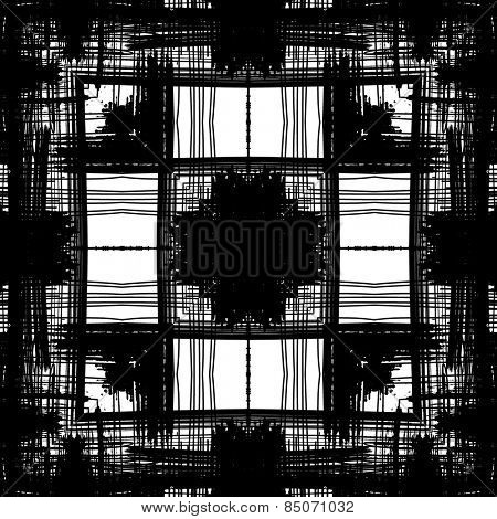 art sketched naive ornamental black pattern isolated on white background, s.14