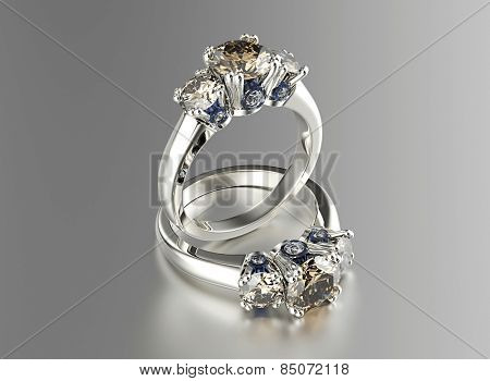 Golden Ring with cognac Diamond. Jewelry background. Valentine day