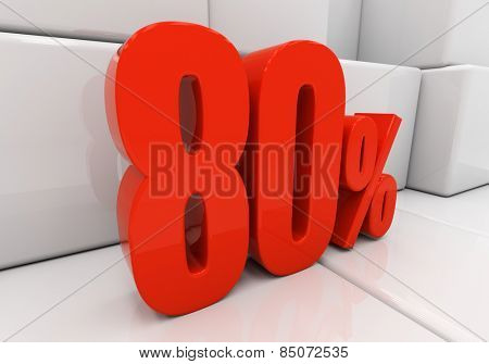 80 percent off. Discount 80. 3D illustration
