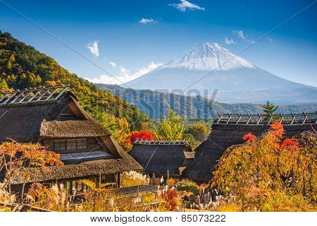 Iyashi-no-sato village with Mt. Fuji in Japan.
