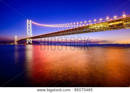 Kobe, Japan at the Akashi Kaikyo Ohashi Bridge spanning the Seto Inland Sea.