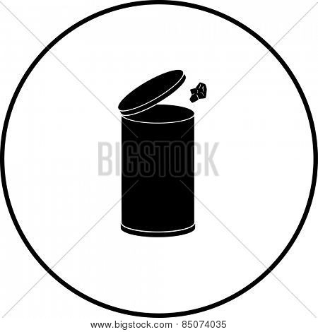 throwing away a paper in a trash can symbol