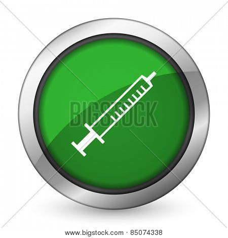 medicine green icon syringe sign
