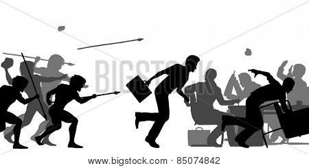 Illustrated silhouettes of cavemen attacking a business meeting