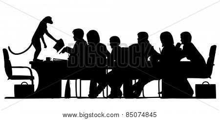 Illustrated silhouette of a business meeting chaired by a monkey