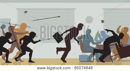 Illustrated color cutouts of cavemen attacking a business meeting