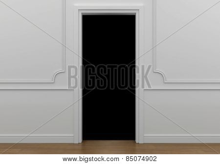 open doorway with darkness reaching into the abyss