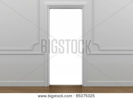 open doorway with white light going into the abyss