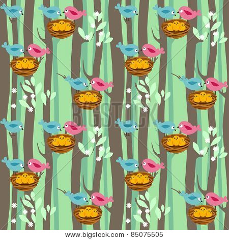 Seamless pattern with spring trees and birds with babies