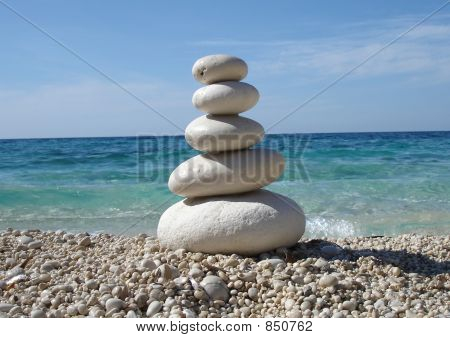 Zen Style Stones by the Sea