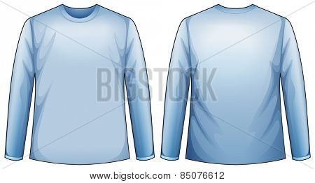 Long sleeves blue shirt with front and back view