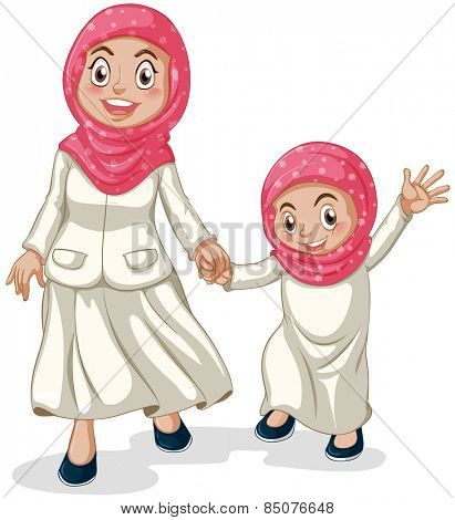 Woman and a girl muslims holding hands