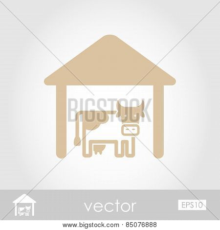 Cowshed Vector Icon