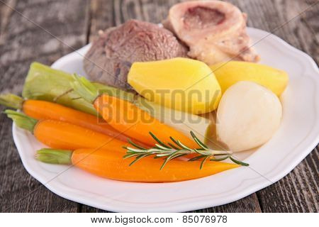 pot au feu, beef stew and vegetables