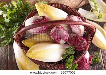 basket with chicory