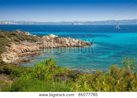 Cove at Santa Maria island in Maddalena Archipelago in Sardinia