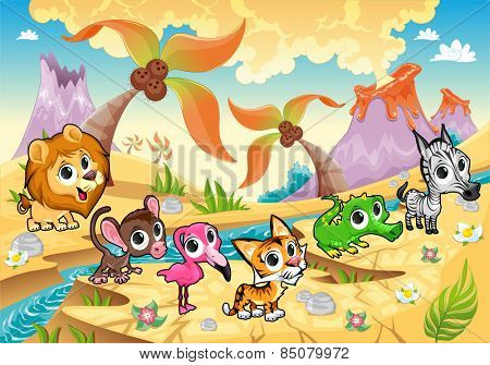 Landscape with animals, tree palms and volcanoes. Funny cartoon and vector illustration.