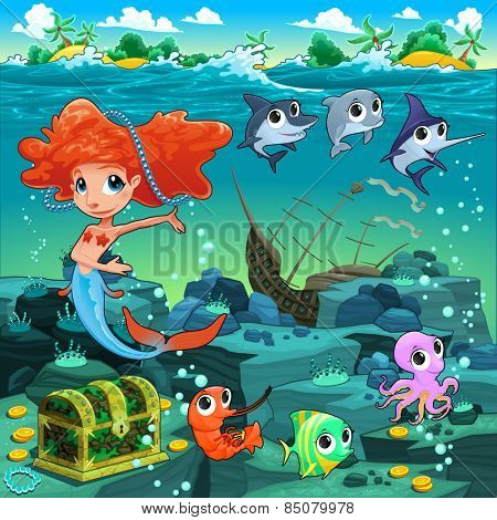 Mermaid with funny animals on the sea floor. Cartoon vector illustration.