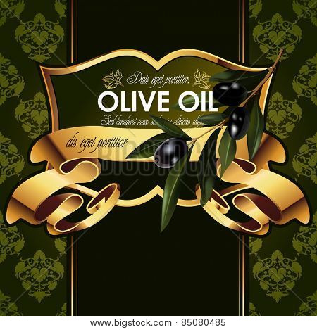 Olive oil.Vector luxury golden decorative design with olive branch. For labels, pack.