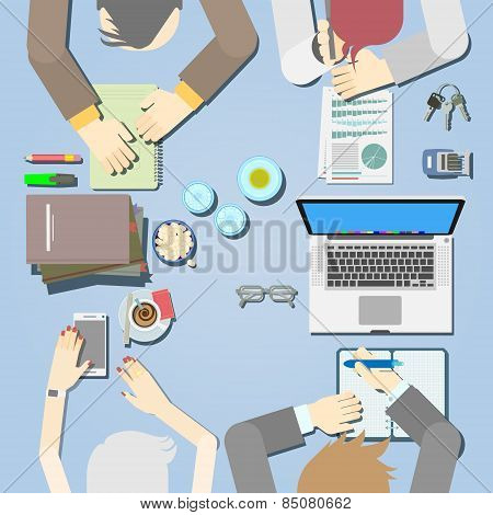 Modern Vector Illustrated the Concept of Business Meeting, Teamwork or Brainstorming.