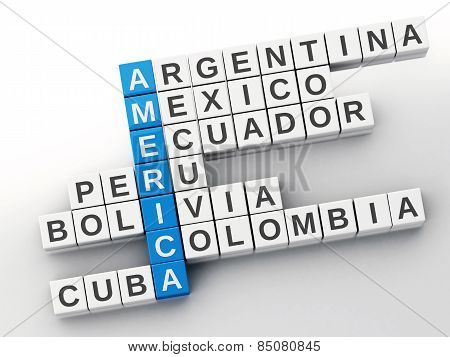 3d America  concept. Crossword with letters. Isolated white back