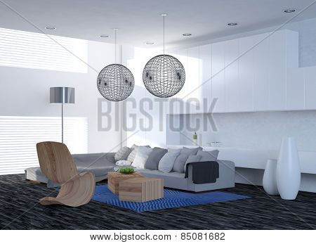 Modern elegant living room interior with a corner unit settee and contemporary chairs under spherical latticework lampshades, parquet floor and large windows. 3d Rendering.