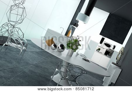 Modern open-plan dining room - kitchen interior with black and white decor, stylish table and chairs and contemporary wire sculptures. 3d Rendering.