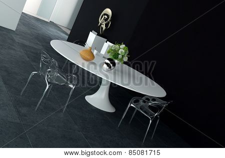 Elegant Design of Architectural Dining Area with Round White Table, decorated with Flowers and Silver Balls, and Glossy Metal Chairs. 3d Rendering.