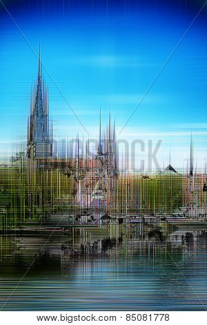 Artistic image of Ulm Minster with a blurred paint effect of the Gothic cathedral and Ulm under a sunny blue sky reflected in the River Danube