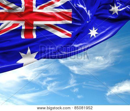 Australian waving flag on a beautiful day