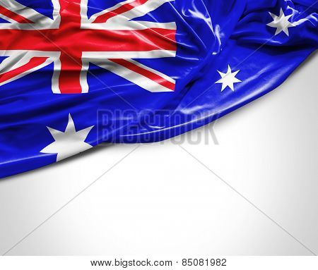 Australian waving flag on white background