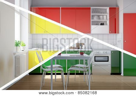 Kitchenette in kitchen with three different colors to choose from (3D Rendering)