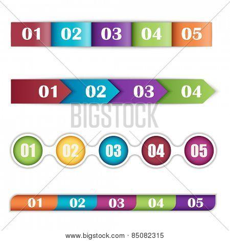 Vector illustration of a set of timelines