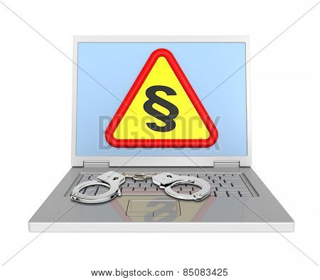 Laptop with paragraph sign and handcuffs isolated on white.
