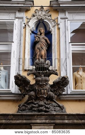 GRAZ, AUSTRIA - JANUARY 10, 2015: Imperial eagle emblem in Graz, Styria, Austria on January 10, 2015.