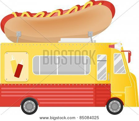 Illustration of a Food Truck With a Giant Hot Dog Installation on the Roof