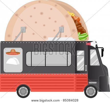 Illustration of a Food Truck With a Taco Installation on its Roof