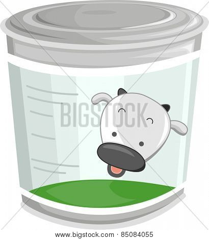 Illustration of a Can of Milk With a Cute Cow on The Label