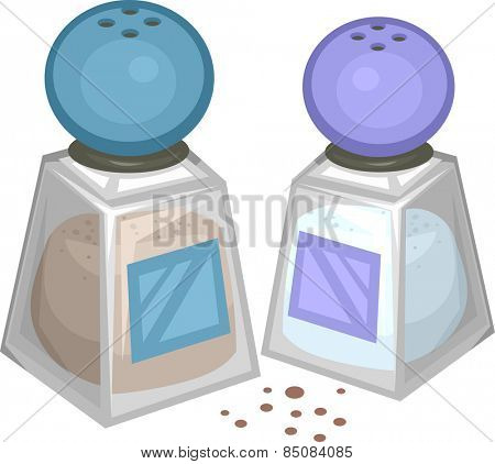 Illustration of a Salt and Pepper Shakers Standing Side by Side