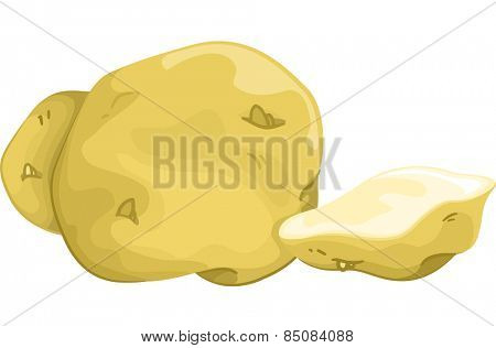 Illustration of Untouched Potatoes Sitting Side by Side With a Sliced One