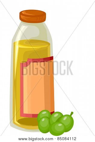 Illustration of a Couple of Olives Sitting Beside a Jar of Olive Oil