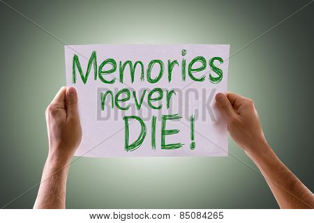Memories Never Die card with green background