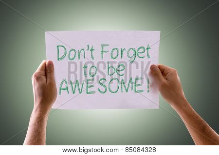 Don't Forget to be Awesome! card with green background